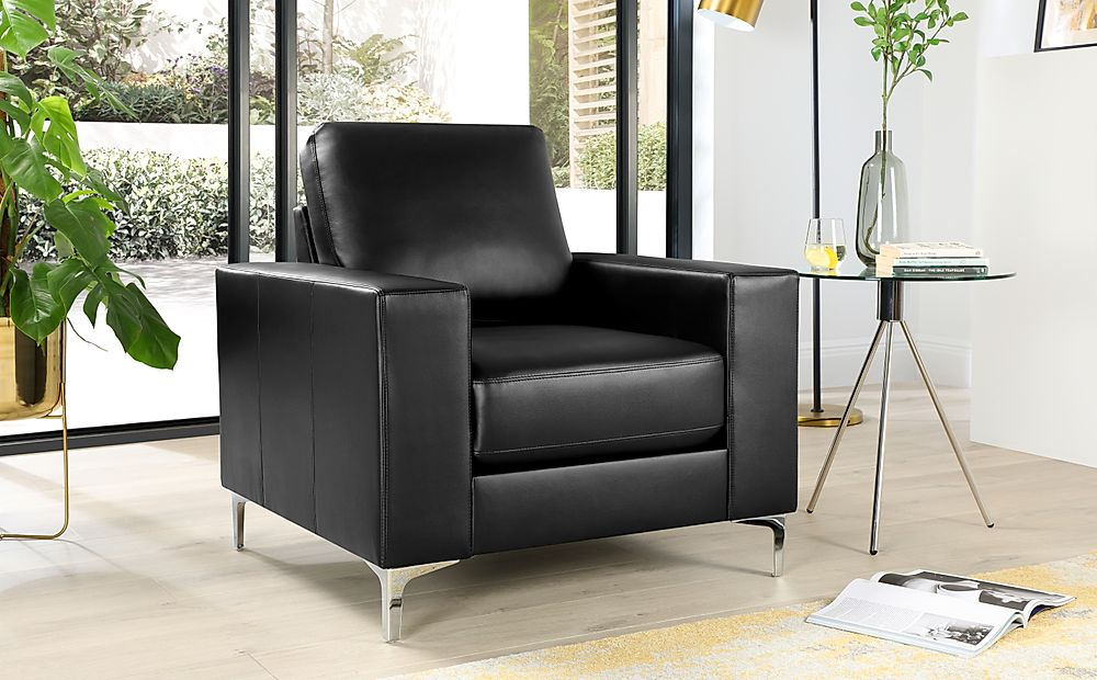 Baltimore Leather Armchair - Black