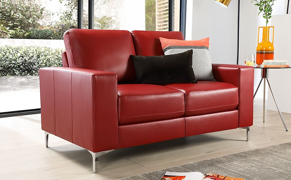 Baltimore 2 Seater Leather Sofa - Red