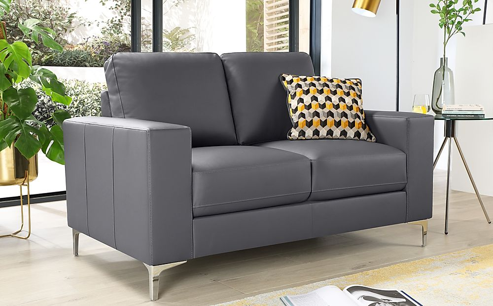 Baltimore Grey Leather 2 Seater Sofa