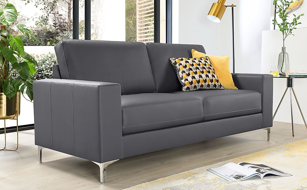 Baltimore Grey Leather 3 Seater Sofa