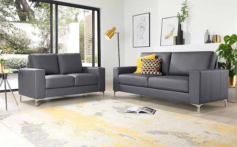 Baltimore Leather Sofa Suite 3+2 Seater - Grey