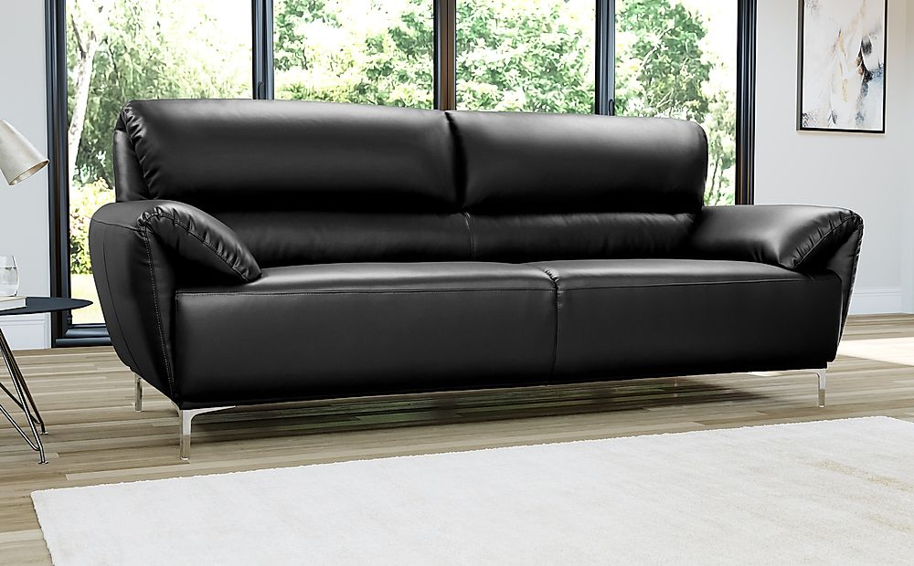 Enzo Black Leather Sofa 3 Seater