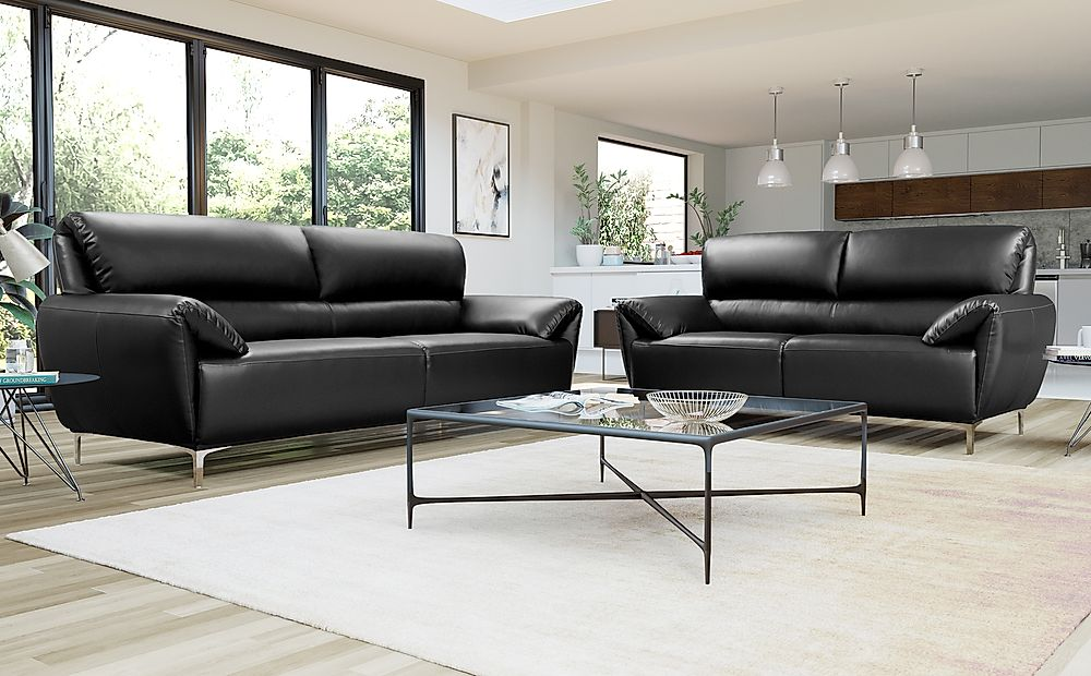 Enzo Black Leather Sofa 3+2 Seater