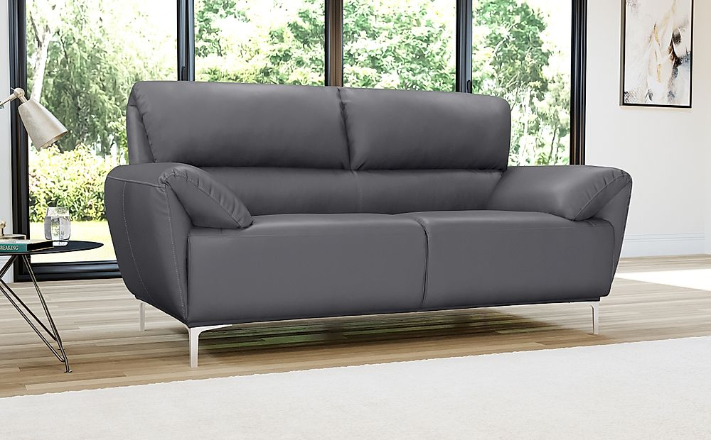 Enzo Grey Leather 2 Seater Sofa