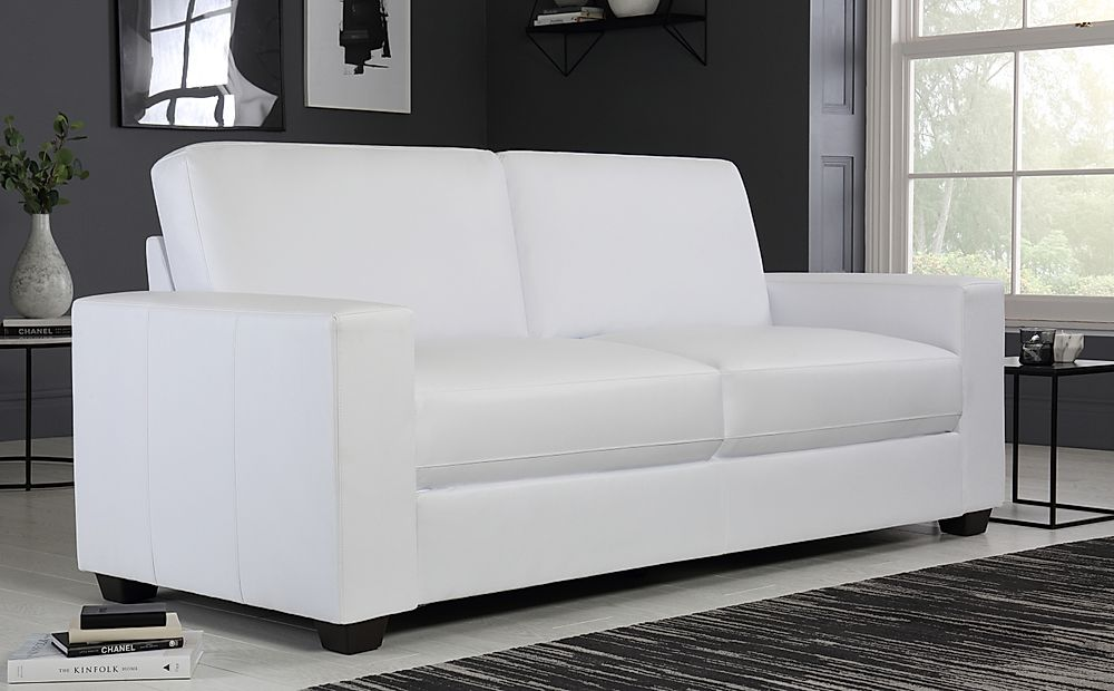 Mission White Leather Sofa 3 Seater