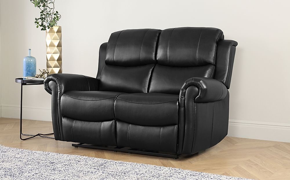 Hadlow Black Leather Recliner Sofa 2 Seater