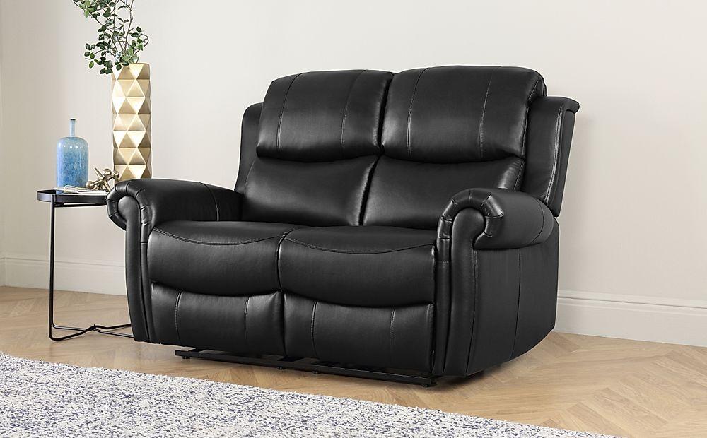 Hadlow Black Leather 2 Seater Recliner Sofa