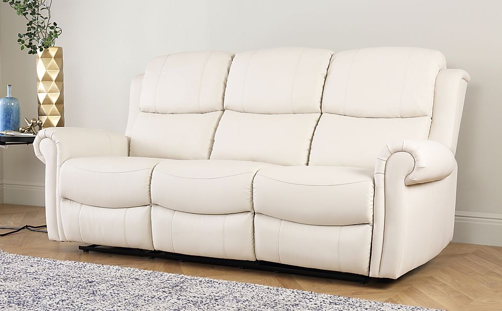 Hadlow Ivory Leather Recliner Sofa 3 Seater