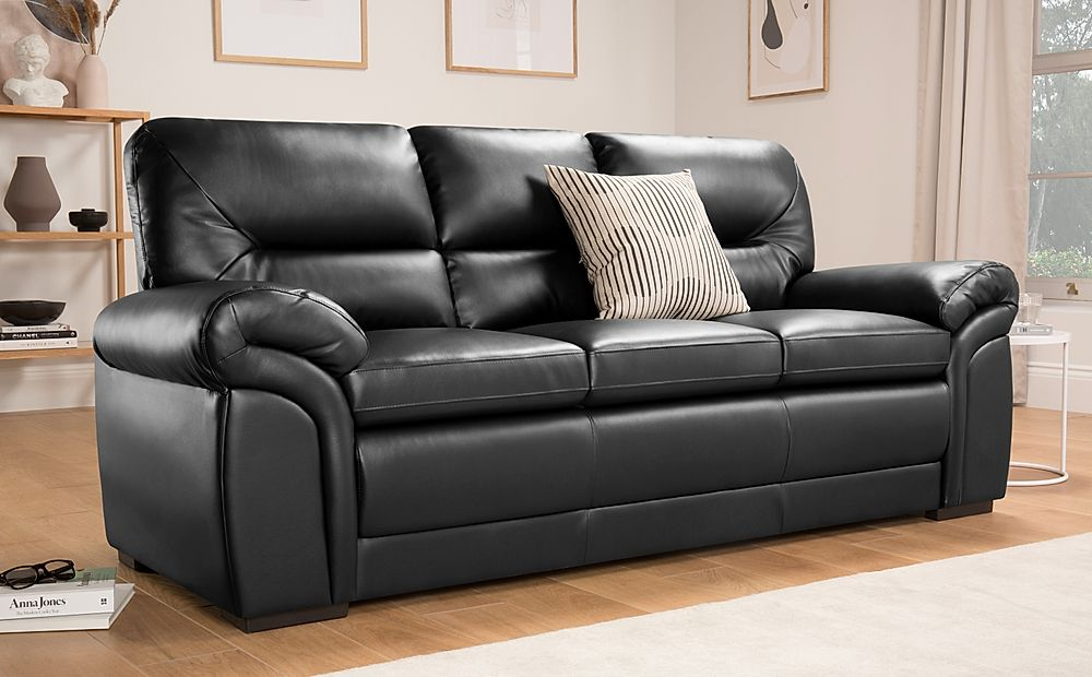 Bromley Black Leather Sofa 3 Seater