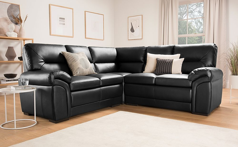 Bromley Black Leather Corner Sofa