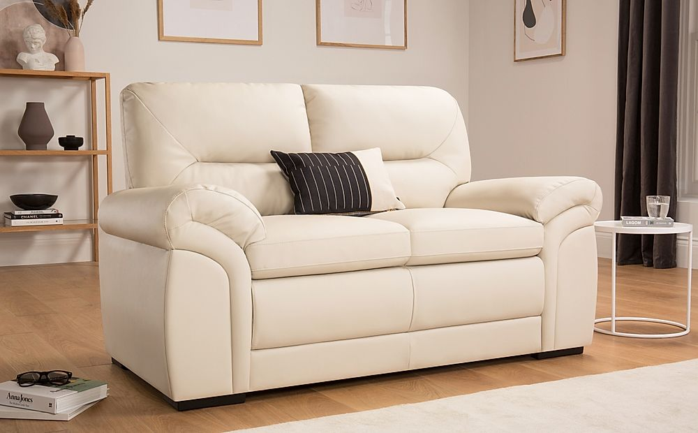 Bromley Ivory Leather Sofa 2 Seater