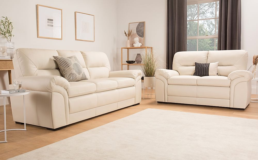 Bromley Ivory Leather Sofa 3+2 Seater