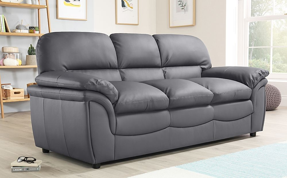 Rochester Grey Leather Sofa 3 Seater