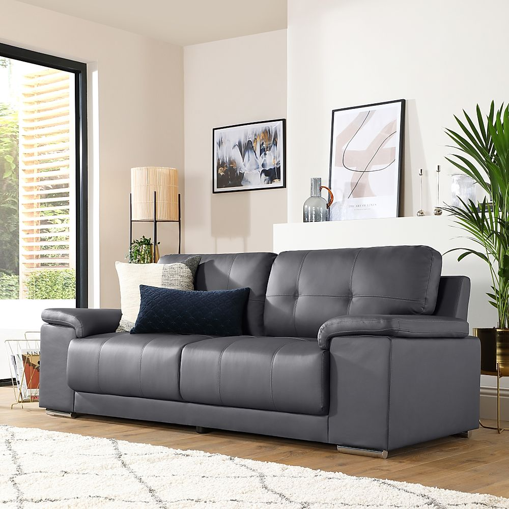 Kansas Grey Leather 3 Seater Sofa
