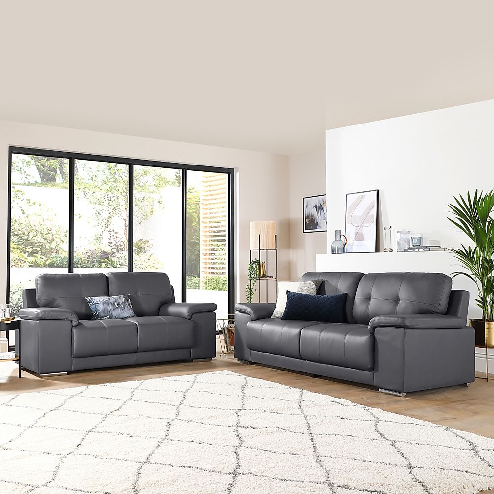 Kansas Grey Leather Sofa 3+2 Seater