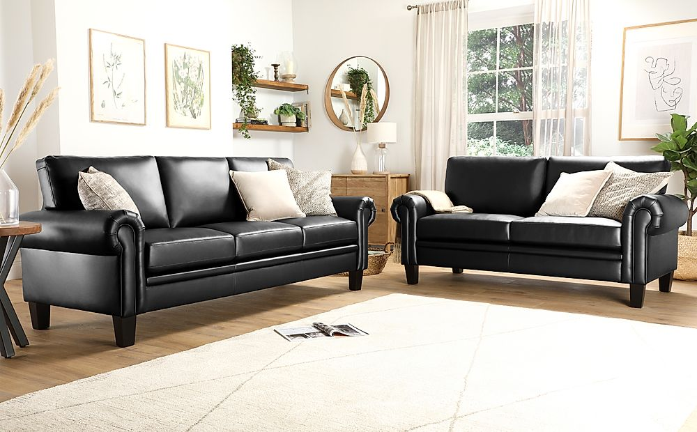 Oakley Black Leather 3+2 Seater Sofa Set