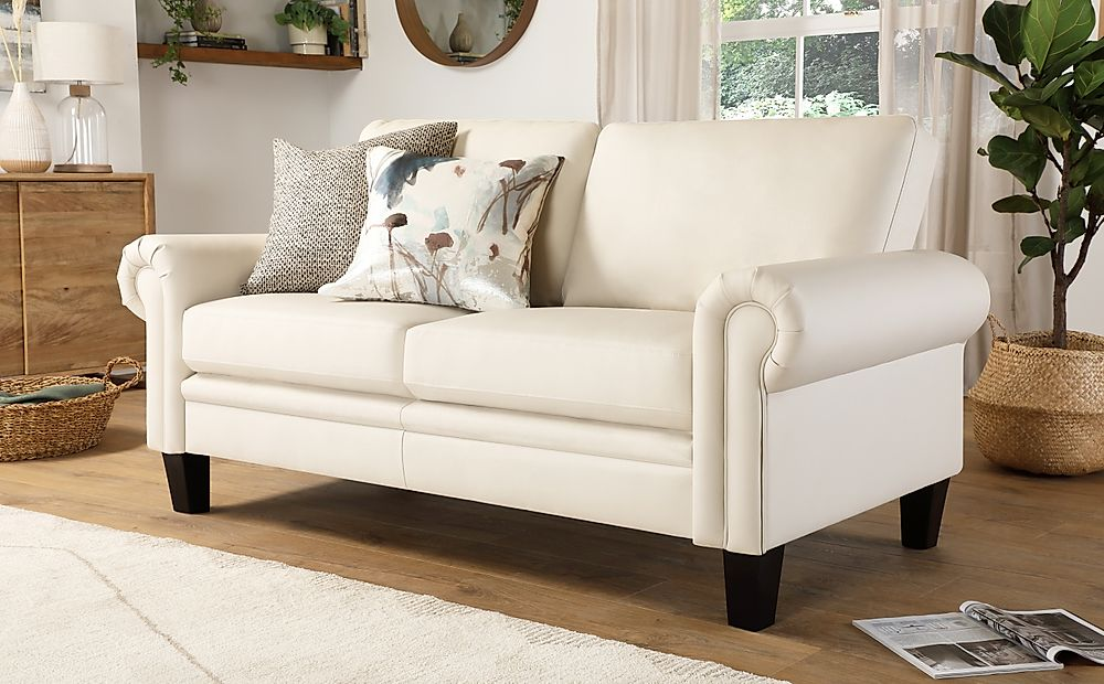 Oakley Ivory Leather 2 Seater Sofa