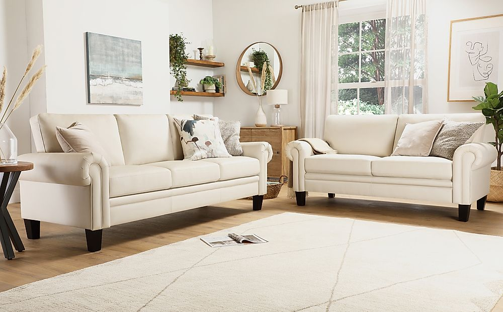 Oakley Ivory Leather 3+2 Seater Sofa Set