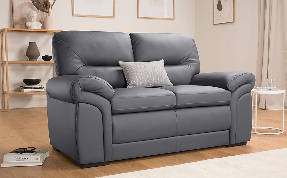 Bromley Grey Leather Sofa 2 Seater