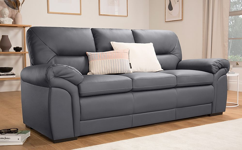Bromley Grey Leather Sofa 3 Seater