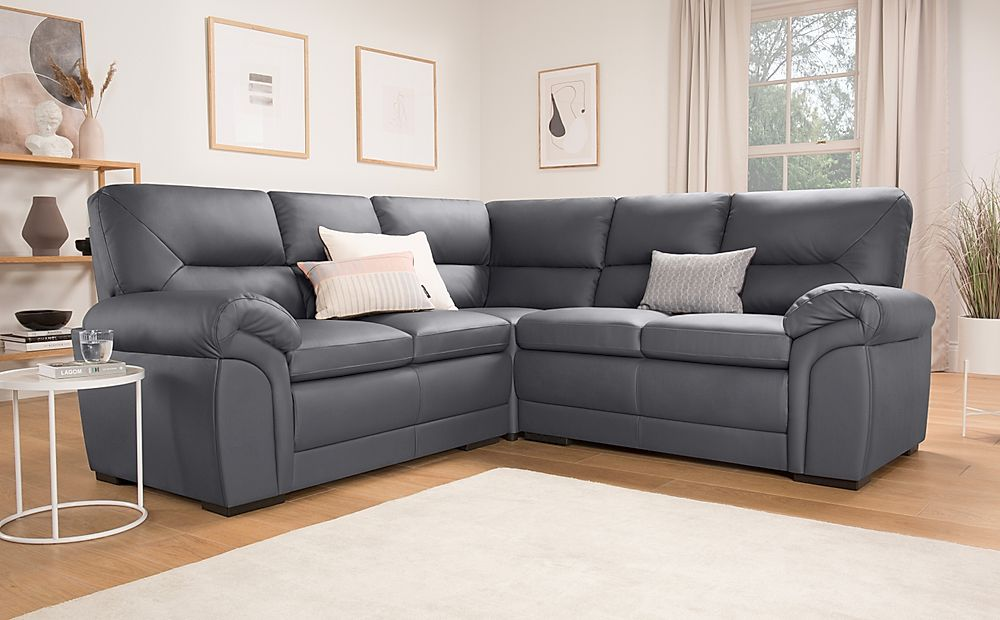 Bromley Grey Leather Corner Sofa