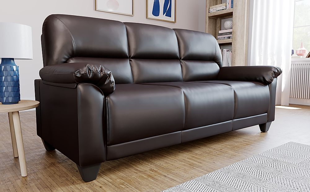 Kenton Small Brown Leather 3 Seater Sofa