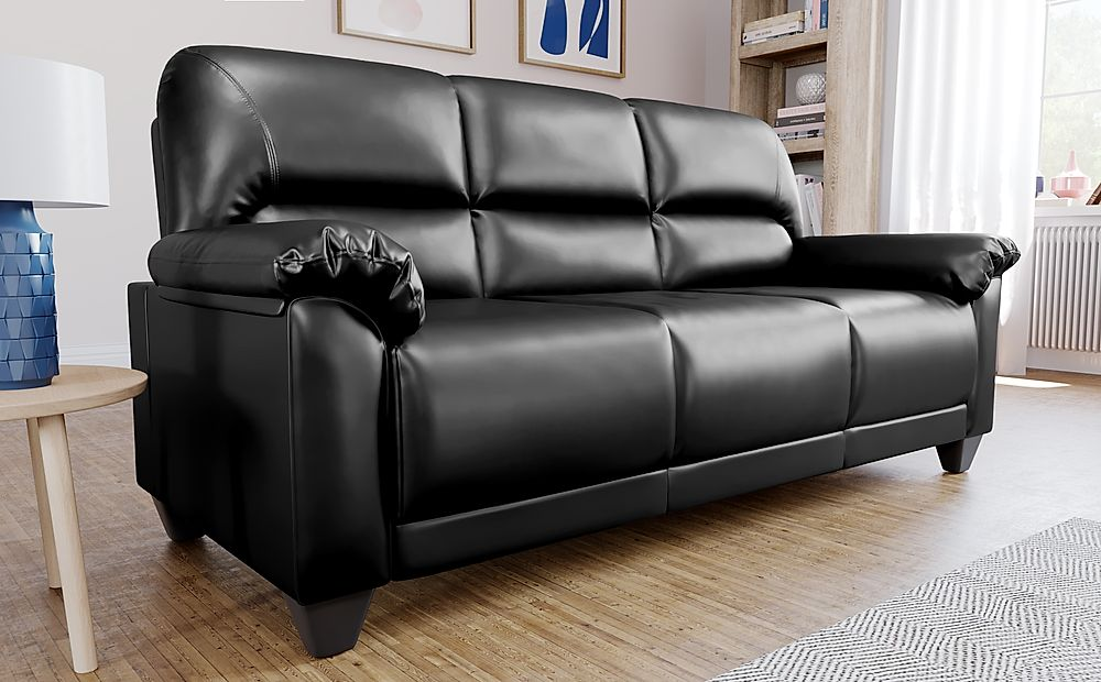 Kenton Small Black Leather 3 Seater Sofa