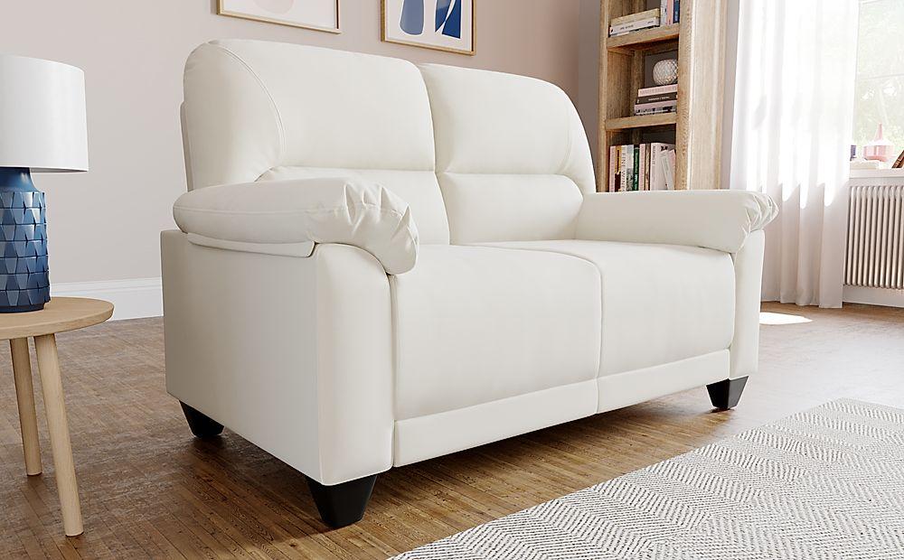 Kenton Small Ivory Leather Sofa 2 Seater