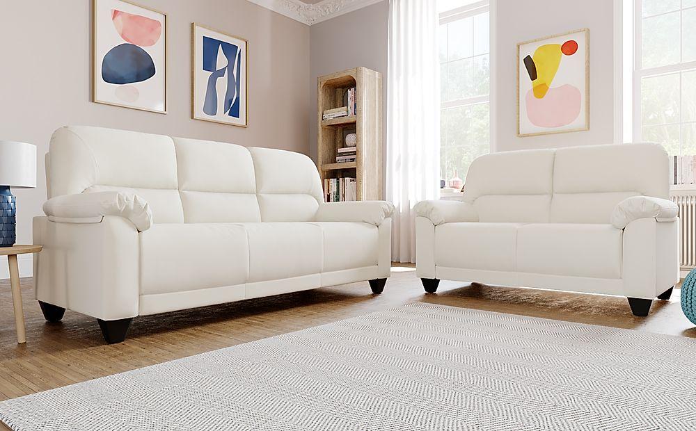 Kenton Small Ivory Leather Sofa 3+2 Seater