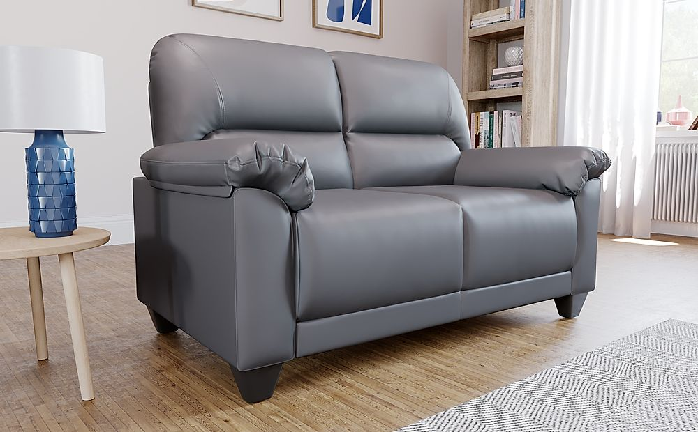 Kenton Small Grey Leather Sofa 2 Seater