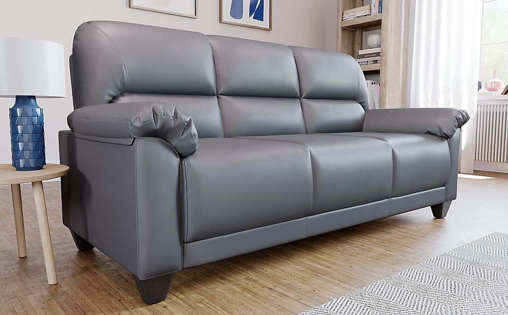 Kenton Small Grey Leather Sofa 3 Seater