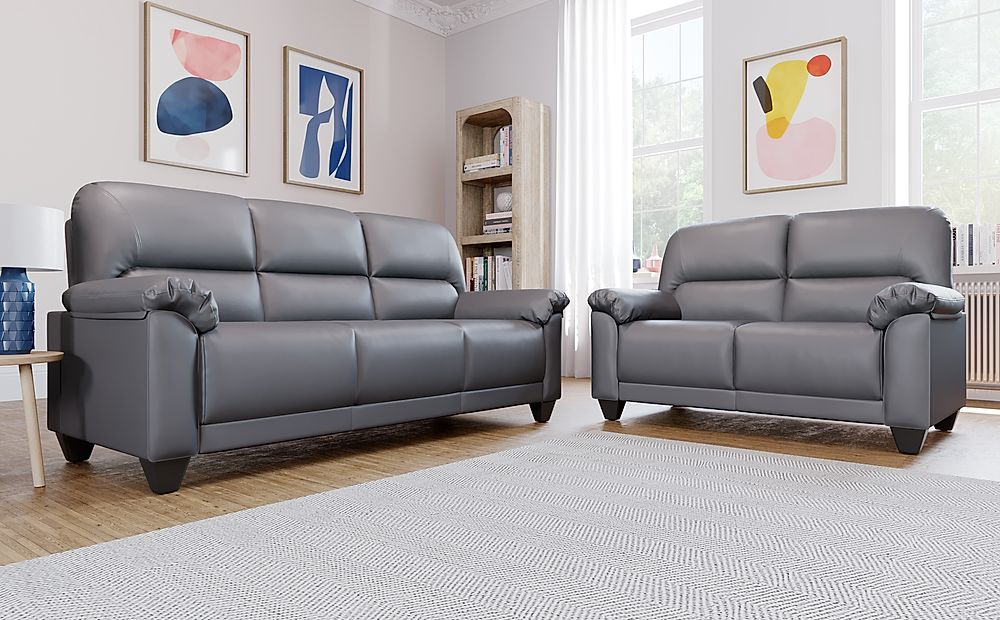 Kenton Small Grey Leather Sofa 3+2 Seater