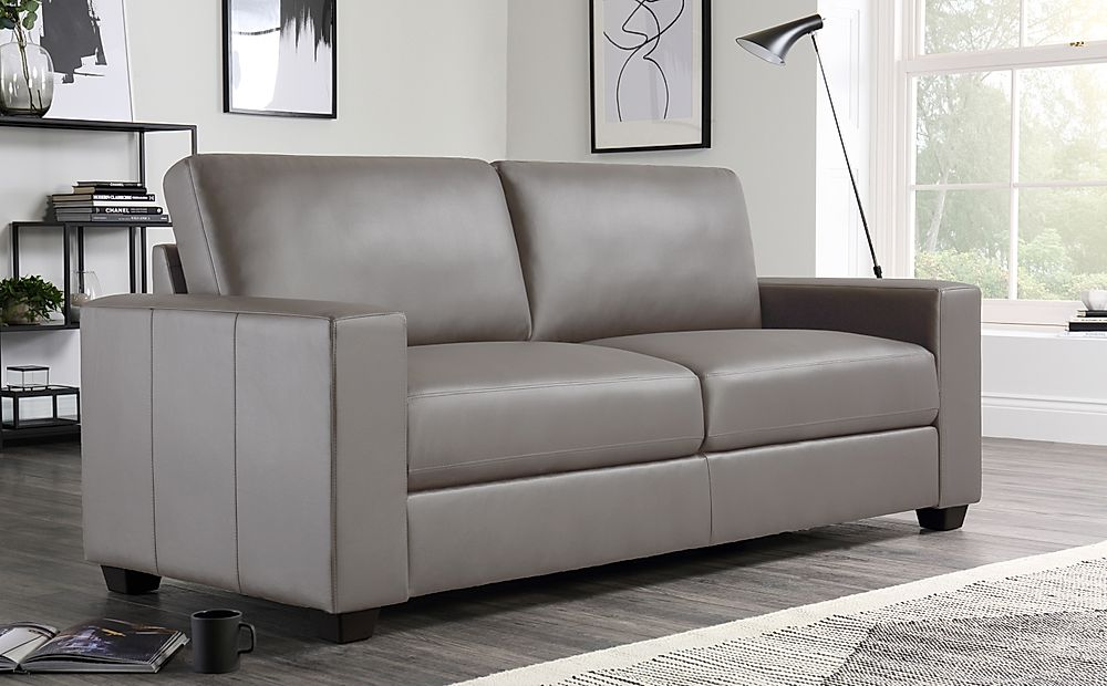 Mission Taupe Leather 3 Seater Sofa