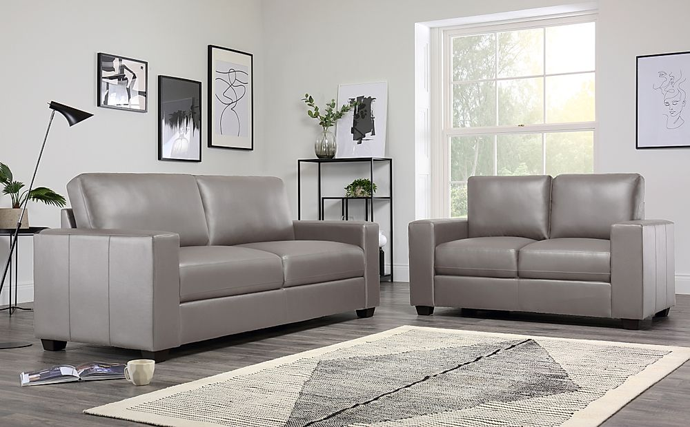 Mission Taupe Leather Sofa 3+2 Seater