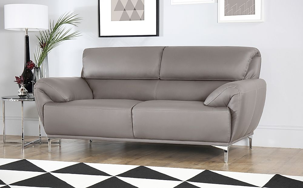 Enzo Taupe Leather 2 Seater Sofa