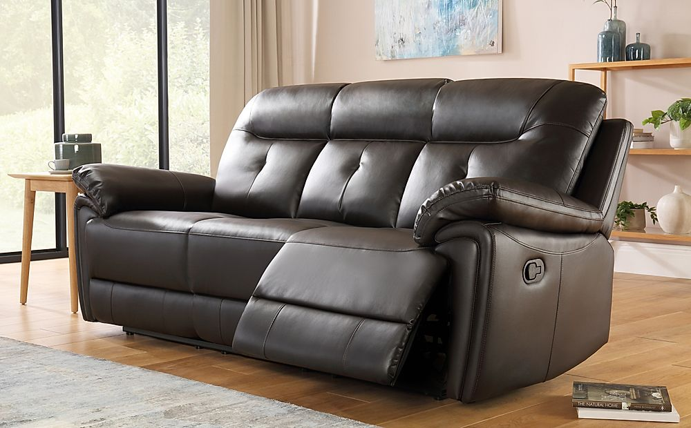 Ellington Brown Leather 3 Seater Recliner Sofa Furniture