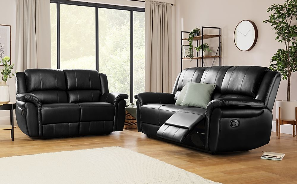 Lombard Black Leather 3+2 Seater Recliner Sofa Set