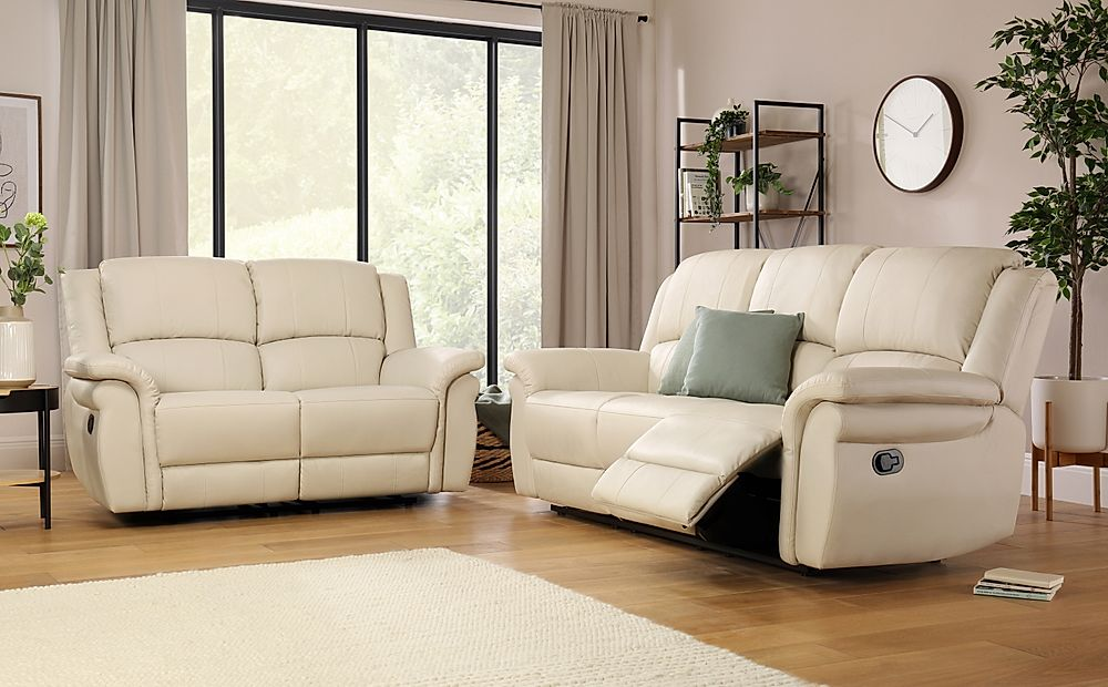 Lombard Ivory Leather Recliner Sofa 3+2 Seater