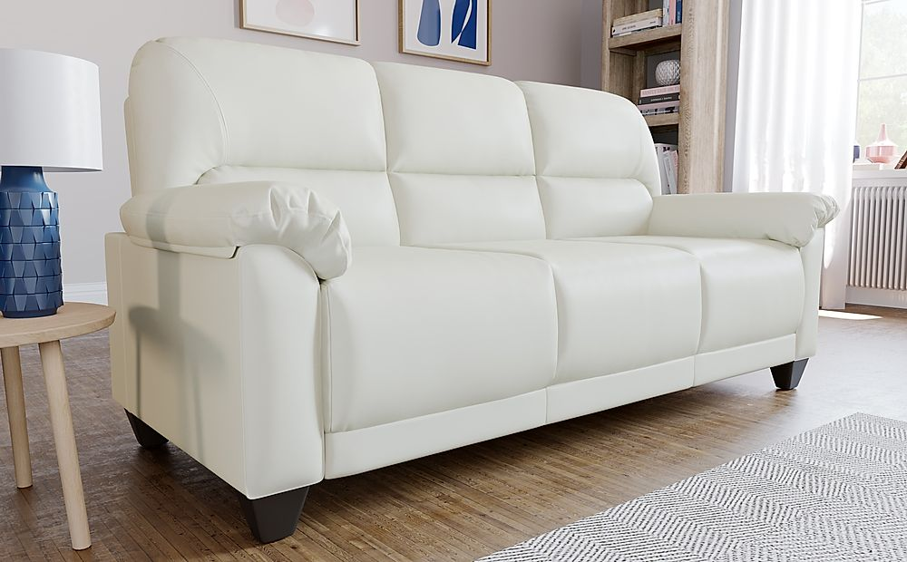 Kenton Small Ivory Leather 3 Seater Sofa