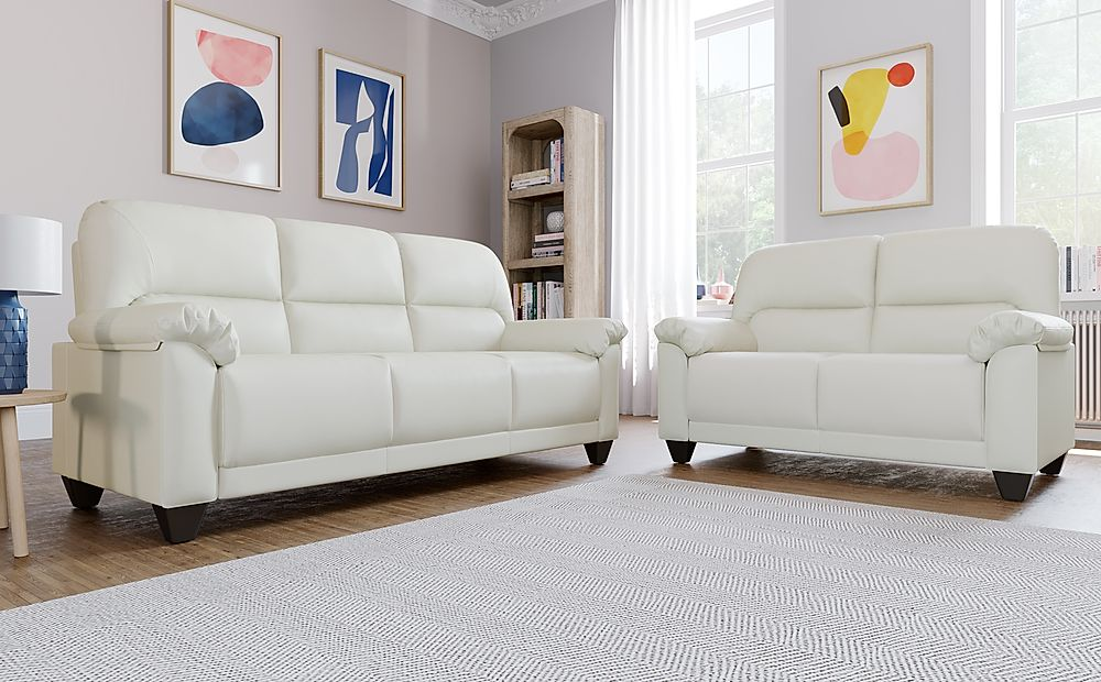 Kenton Small Ivory Leather 3+2 Seater Sofa Set