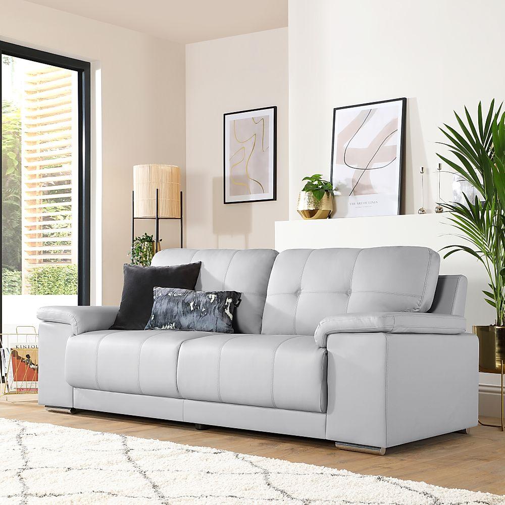 Kansas Light Grey Leather 3 Seater Sofa