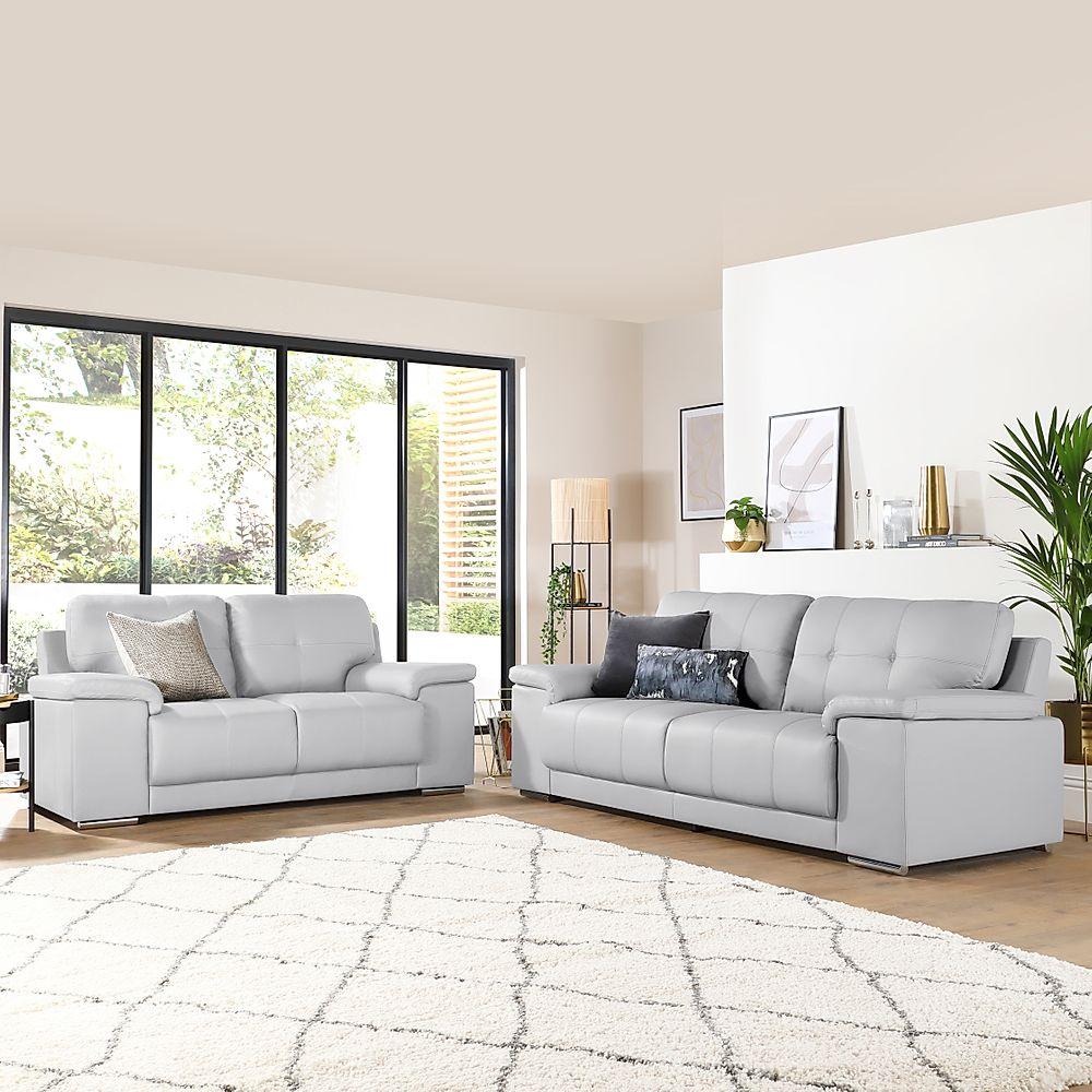 Kansas Light Grey Leather 3+2 Seater Sofa Set