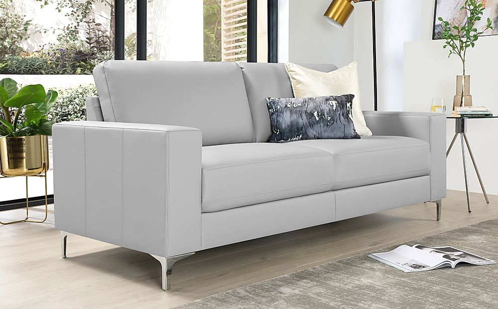 Baltimore Light Grey Leather 3 Seater Sofa