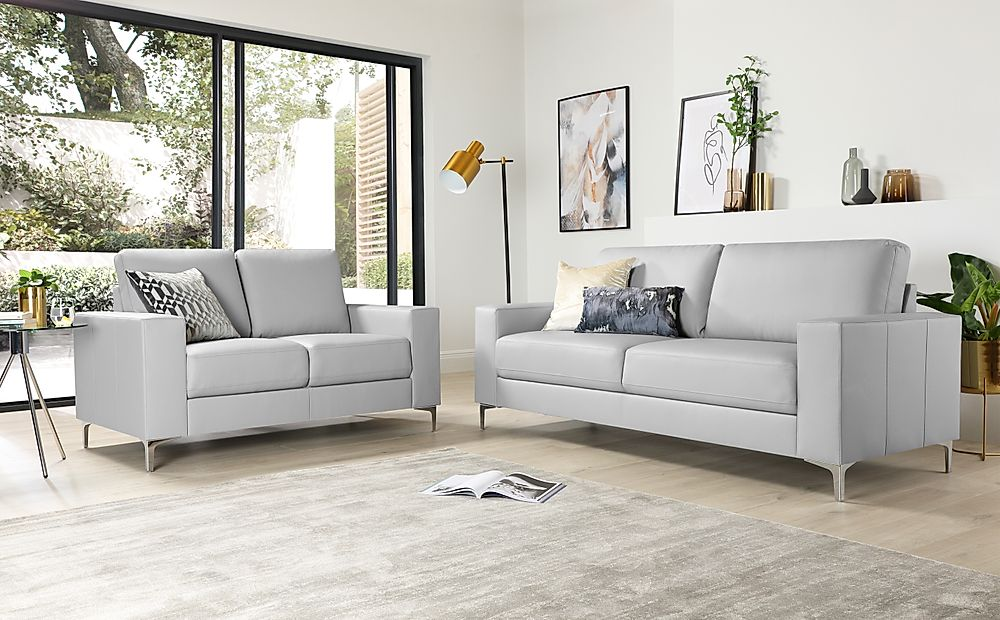 Baltimore Light Grey Leather 3+2 Seater Sofa Set