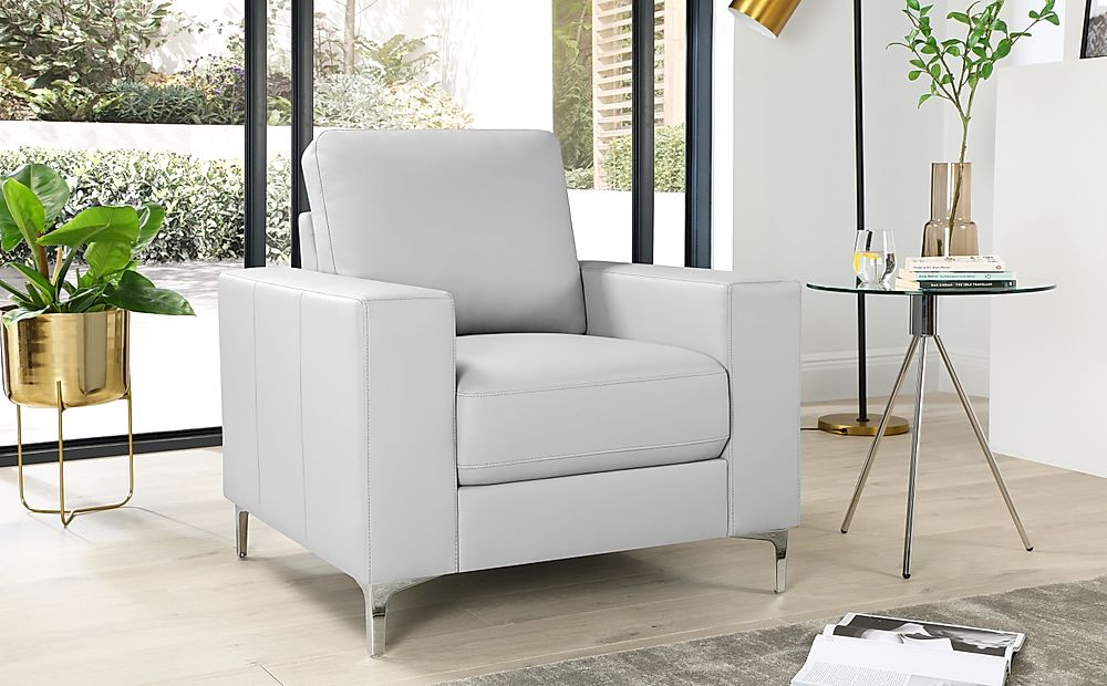 Baltimore Light Grey Leather Armchair | Furniture Choice