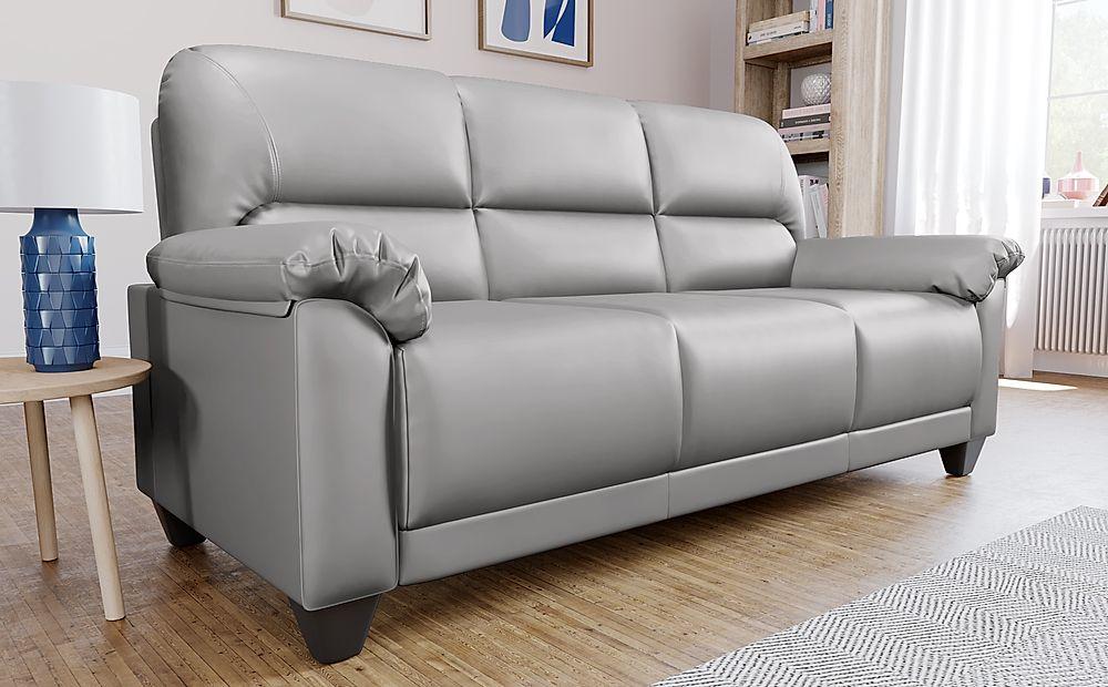 Kenton Small Light Grey Leather 3 Seater Sofa