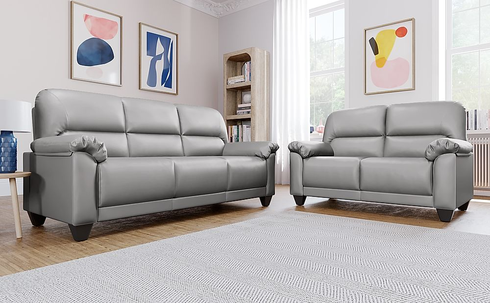 Kenton Small Light Grey Leather 3+2 Seater Sofa Set