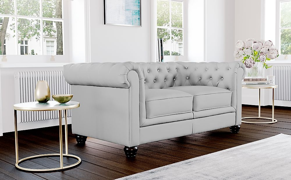 Hampton Light Grey Leather 2 Seater Chesterfield Sofa