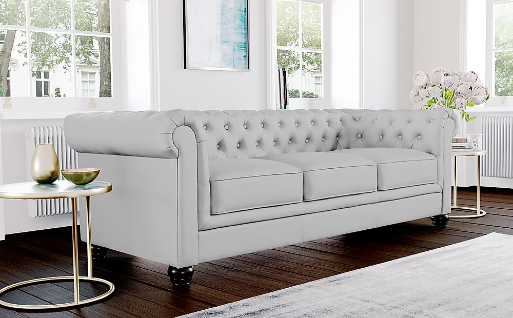 Hampton Light Grey Leather 3 Seater Chesterfield Sofa