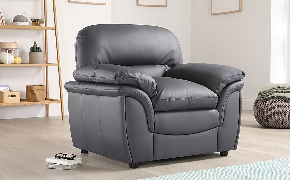 Rochester Grey Leather Armchair